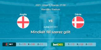 Foci Tippek: Anglia - Dánia 2021. július 7. - Euro 2020