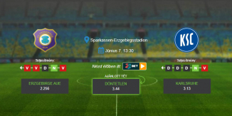 Foci Tippek: Erzgebirge Aue - Karlsruhe 2020. június 7. - Bundesliga 2