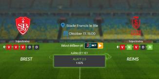 Foci Tippek: Brest - Reims 2021. október 17. - Ligue 1