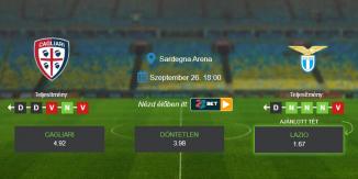 Foci Tippek: Cagliari - Lazio 2020. szeptember 26. - Serie A