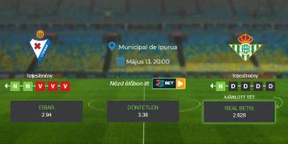 Foci Tippek: Eibar - Real Betis 2021. május 13. - La Liga