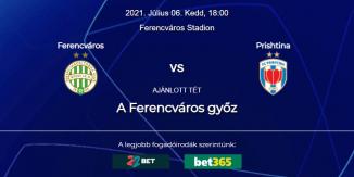 Foci Tippek: Ferencváros - FC Prishtina 2021. július 6. - Bajnokok Ligája