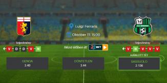 Foci Tippek: Genoa - Sassuolo 2021. október 17. - Serie A