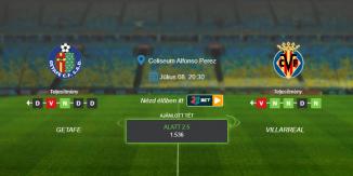 Foci Tippek: Getafe - Villarreal 2020. július 8. - La Liga