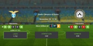 Foci Tippek: Lazio - Udinese 2020. november 29. - Serie A