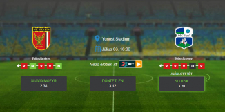 Foci Tippek: Slavia Mozyr - Slutsk 2020. július 3. - Vysshaya Liga