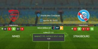 Foci Tippek: Nimes - Strasbourg 2021. április 18. - Ligue 1