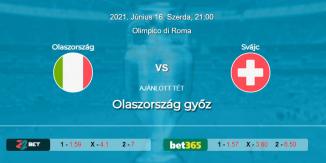 Foci Tippek: Olaszország - Svájc 2021. június 16. - Euro 2020