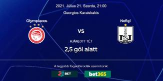 Foci Tippek: Olympiakosz - Neftchi Baku 2021. július 21. - Bajnokok Ligája