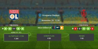 Foci Tippek: Olympique Lyon - Reims 2020. november 29. - Ligue 1