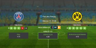 Foci Tippek: PSG – Borussia Dortmund 2020. március 11. - Bajnokok Ligája