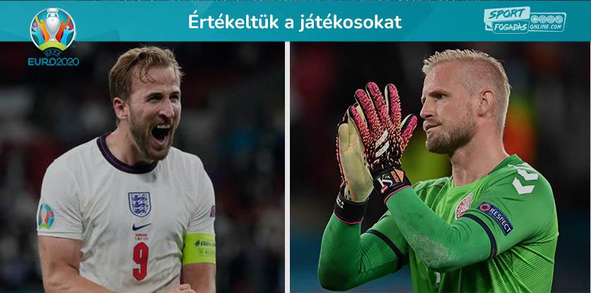 Az Anglia - Dánia elődöntő játékosainak értékelése