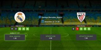 Foci Tippek: Real Madrid vs Athletic Bilbao 2019. december 22. - La Liga
