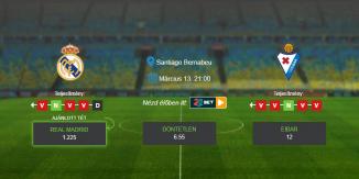 Foci Tippek: Real Madrid vs Eibar 2020. március 13. - LaLiga