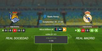 Foci Tippek: Real Sociedad - Real Madrid 2020. szeptember 20. - La Liga