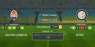Foci Tippek: Sahtar - Inter 2020. október 27. - Champions League