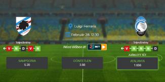 Foci Tippek: Sampdoria - Atalanta 2021. február 28. - Serie A
