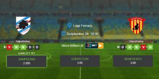Foci Tippek: Sampdoria - Benevento 2020. szeptember 26. - Serie A
