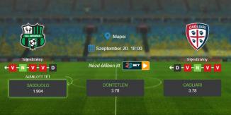 Foci Tippek: Sassuolo - Cagliari 2020. szeptember 20. - Serie A
