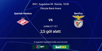 Foci Tippek: Szpartak Moszkva - Benfica 2021. augusztus 4. - Bajnokok Ligája