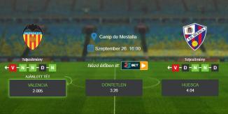 Foci Tippek: Valencia - Huesca 2020. szeptember 26. - La Liga